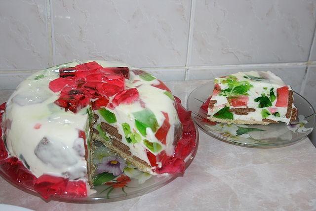 Желейный торт с крекером фото-рецепт