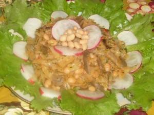 Тушеная капуста с грибами и фасолью