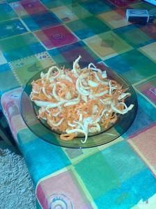 Морковь с кальмаром по корейски
