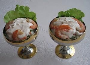 Порционный креветочный салат