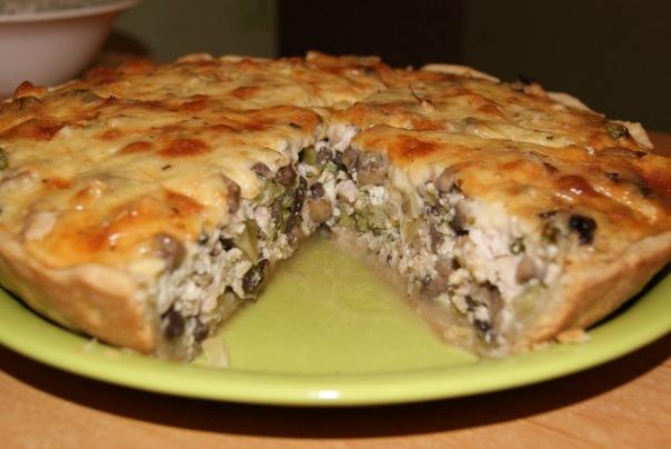 Лоранский пирог с курицей грибами и
