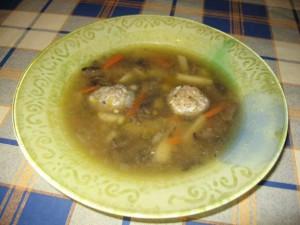 Грибной суп со свиными фрикадельками