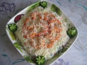 Салат из крабовых палочек с креветками