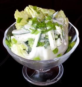 Салат из огурцов в ракушке