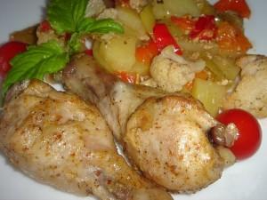 Куриные голени с овощами, запечённые в рукаве