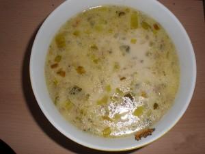 Сырный суп с луком пореем и грибами